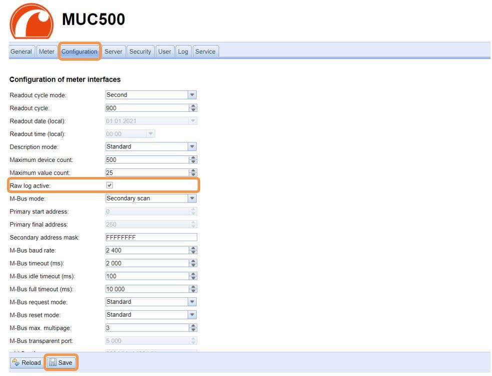 Tab Configuration Rohdatenlog aktivieren
