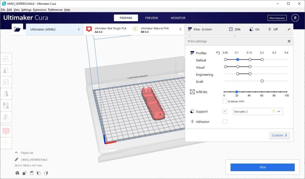Cura Software 3D Drucker
